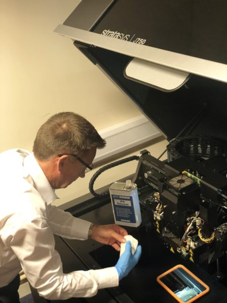 Richard Bolam Academy Trainer inspecting Stratasys J750